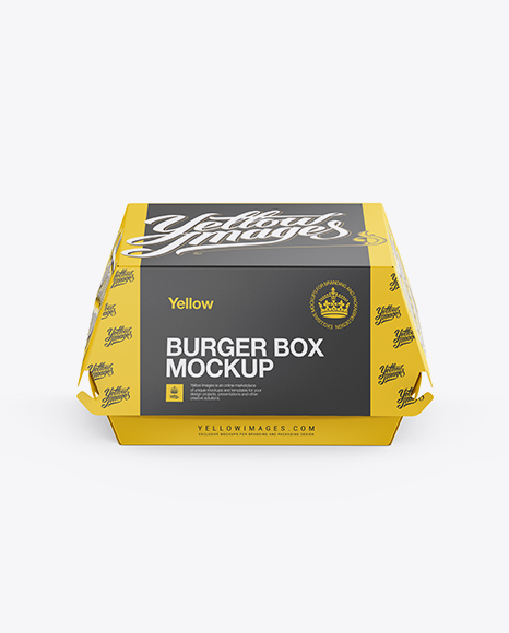 Download Paper Burger Box Mockup - Front View (High-Angle Shot) in ...