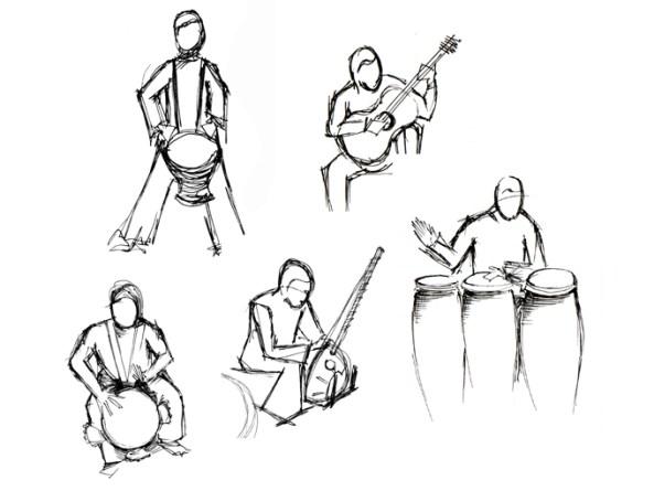 sketch musicos   illustration   pen on paper   2010