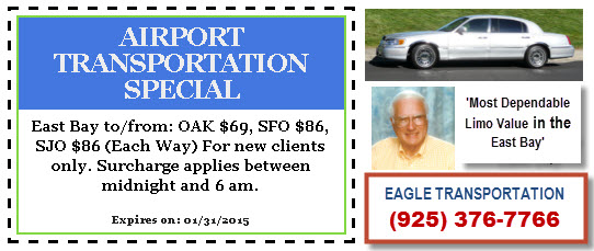 AIRPORT SHUTTLE LIMO to or from  CONTRA COSTA to or from SFO, SFO at Taxi Discount Prices – EAGLE TRANSPORTATION – Yellow Pages Coupons