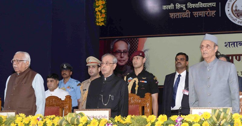 The President, Mr. Pranab Mukherjee at the Centenary Year Celebrations of the Banaras Hindu University (BHU), at Varanasi, in Uttar Pradesh on May 12, 2016. The Governor of Uttar Pradesh, Mr. Ram Naik is also seen.