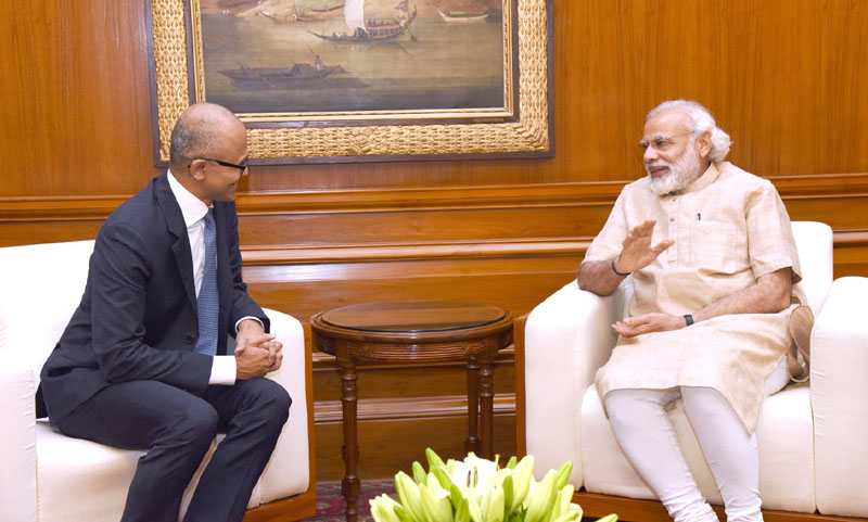 The Microsoft CEO, Mr. Satya Nadella calling on the Prime Minister, Mr. Narendra Modi, in New Delhi on May 30, 2016.