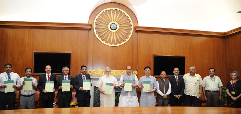 The Prime Minister, Mr. Narendra Modi releasing the National Disaster Management Plan (NDMP), - 1st ever national plan prepared in the country, in New Delhi on June 01, 2016. The Union Home Minister, Mr. Rajnath Singh, the Minister of State for Home Affairs, Mr. Kiren Rijiju and the senior officers of the Prime Minister's Office, Ministry of Home Affairs and National Disaster Management Authority are also seen.