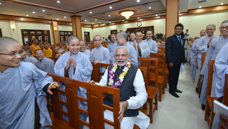 The Prime Minister, Mr. Narendra Modi at the Quan Su Pagoda, in Hanoi, Vietnam on September 03, 2016.