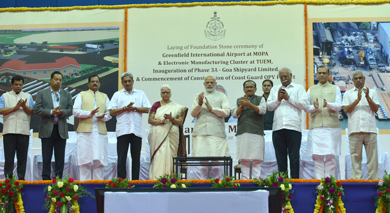 The Prime Minister, Mr. Narendra Modi laying the foundation stone of various projects in Goa on November 13, 2016. The Governor of Goa, Mrs. Mridula Sinha, Union Minister for Defence, Mr. Manohar Parrikar, Union Minister for Civil Aviation, Mr. Ashok Gajapathi Raju Pusapati, the Minister of State for AYUSH (Independent Charge), Mr. Shripad Yesso Naik, the Minister of State for Civil Aviation, Mr. Jayant Sinha, the Chief Minister of Goa, Mr. Laxmikant Parsekar and other dignitaries are also seen.