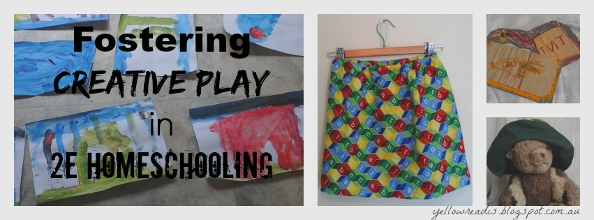 Fostering Creative Play in 2e Homeschooling, yellowreadis.com Images: Paintings, a skirt, stamps, a bear