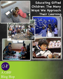 Educating Gifted Children, Ways We Approach Their Learning, GHF Images: Children lying down, kids at an aquarium, kids playing string instruments in a room, kids with teacher in a circle, kid reading