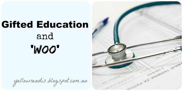 text: Gifted Education and 'woo' , yellowreadis.com Image: stethoscope and medical forms