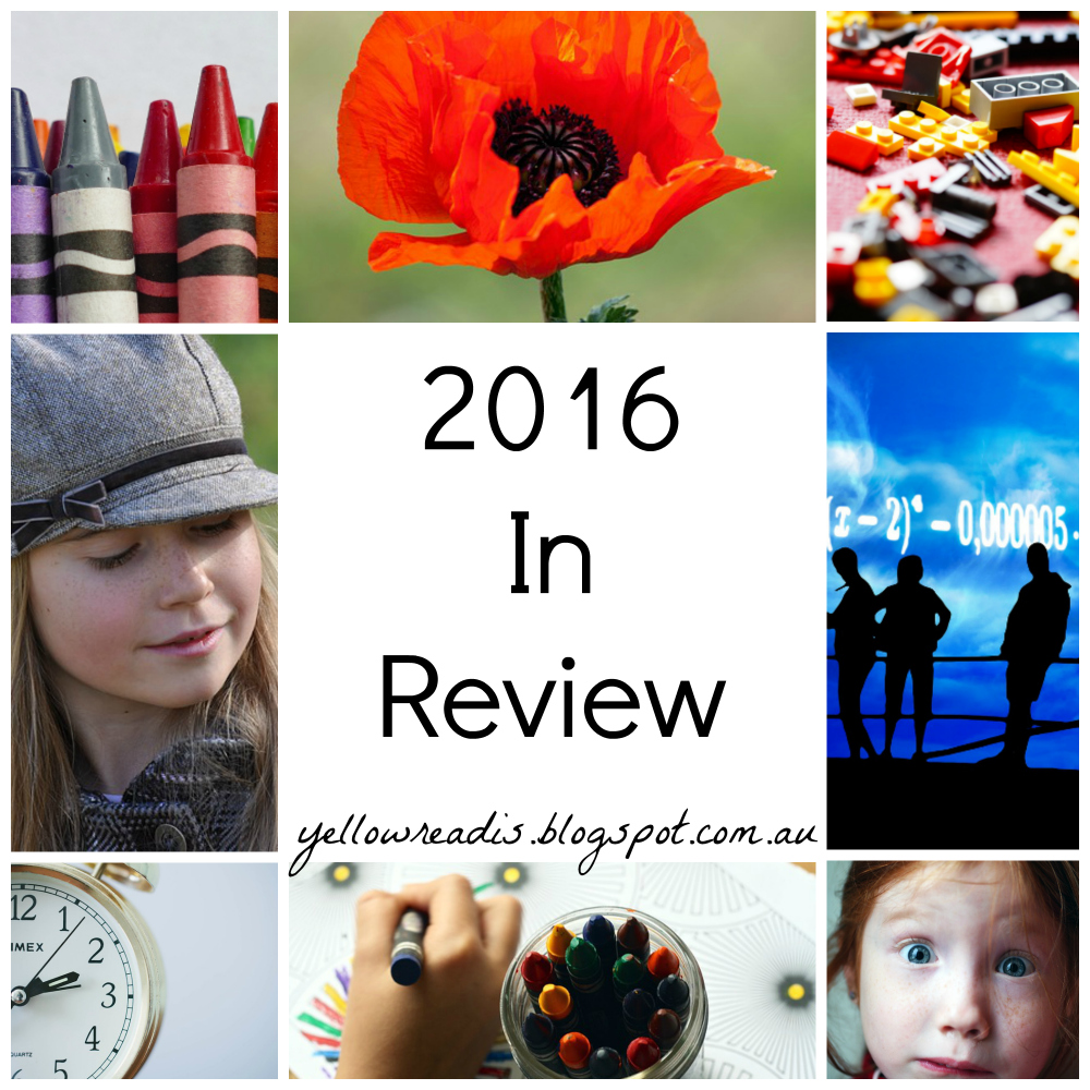 2016 in Review, yellowreadis.com. Multiple images around text: crayons, flower, mess, people in shadow, girl, hand drawing, clock, girl in hat