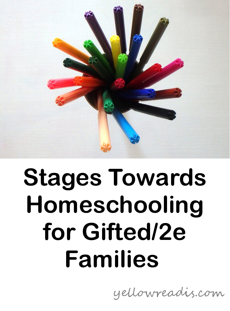 Text: Stages Towards Homeschooling for Gifted/2e Families, yellowreadis.com Image: Textas in a cup