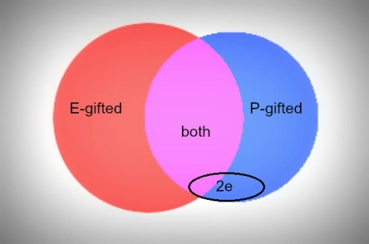 """Two circles overlapping in Venn diagram, one red with words""""E-gifted"""", one blue with words """"P-gifted"""", overlapping region in purple with words """"both, extra oval over blue and purple c=section with label """"2e"""""""