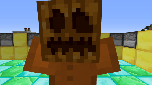 Image: Minecraft armour stand with pumpkin head. Green, blue and yellow background blocks