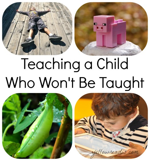 "Text: ""Teaching a Child Who Won't Be Taught"" ""yellowreadis.com"" Pictures: Boy in blue shorts and top lying on wooden bridge, minecraft pig on a white rock, pea pod on vine, young child in striped top playing with a tablet"