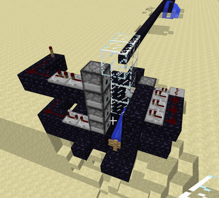 Image: Minecraft creation of redstone contraption in mincraft in black on yellow background