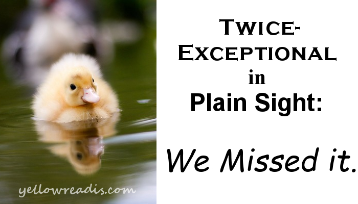 Image: Yellow duckling on water. Text: Twice-exceptional in Plain Sight: We missed it. yellowreadis.com