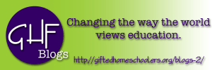 Text: Logo GHF. Changing the way the world views education https://giftedhomeschooler.org