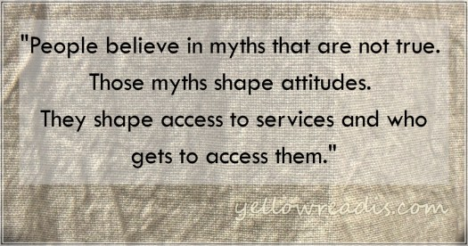 """""""People believe in myths that are not true. Those myths shape attitudes. They shape access to services and who gets to access them."""" --Why Write a Book on Gifted Myths? yellowreadis.com Image: rumpled white cloth"""