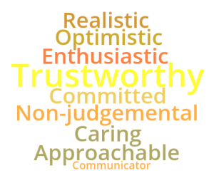 Realistic optimistic enthusiastic trustworthy committed non-judgemental caring approachable communicator
