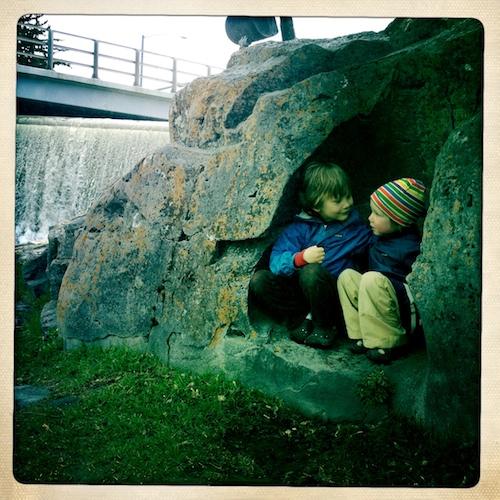 Boys in rock nook