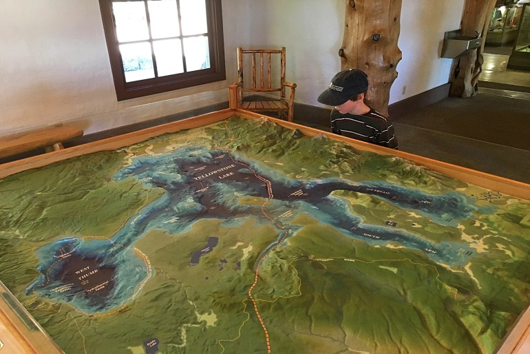 Yellowstone map (relief) at Fishing Bridge Visitor Center