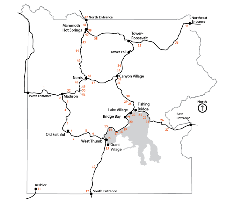 Yellowstone Park Map for Picnic Areas