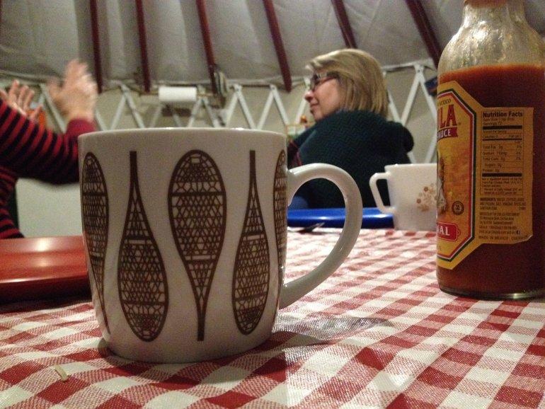 Coffee mug in yurt