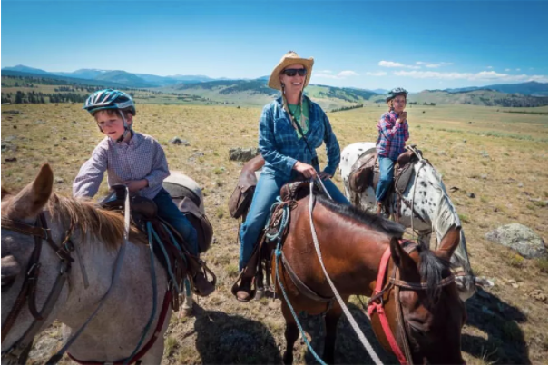 Family on horseback in yellowstone