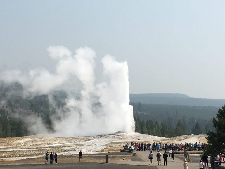 Old Faithful geyser from the Old Faithful Inn