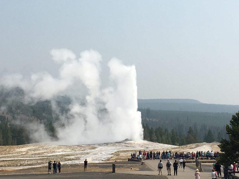 Old Faithful geyser from the Old Faithful Inn