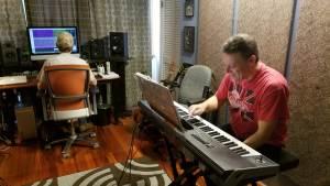 Dave Singer laying down keyboard tracks at 101rpm Studio in Northern VA.