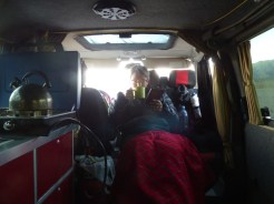 It's cold at that altitude - keeping warm in evening in the van