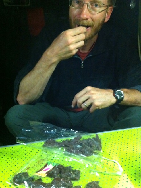 Sampling our chocolates back at the van