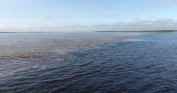 """Just outside of Manaus, the Amazon meets the Rio Negro and two different types of waters """"meet"""" forming a visible boundary for quite some distance downstream"""