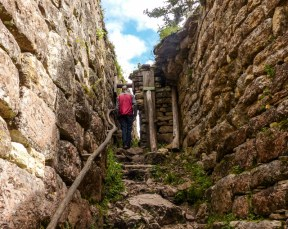 The passages up to the plateau get narrower as they climb - pretty secure!