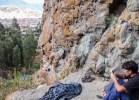 Climbing on a crag overlooking Huaraz
