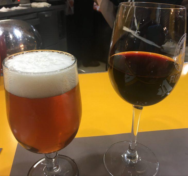 Caña de cerveza y Copa de vino tinto Rioja