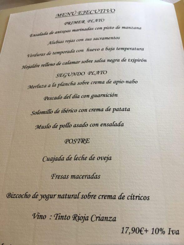 Menú Ejecutivo del Restaurante Aretxondo