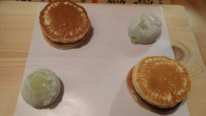 Mochis de té verdes y Dorayaki rellenos de chocolate y cacahuete