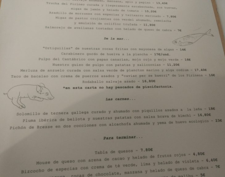 Carta del Restaurante Galerna Jan-Edan de Donostia