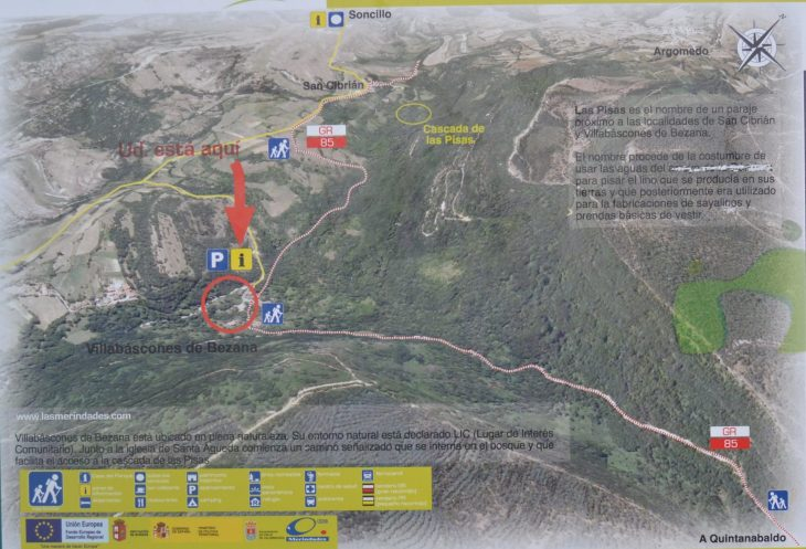 Plano de la Cascada de las Pisas