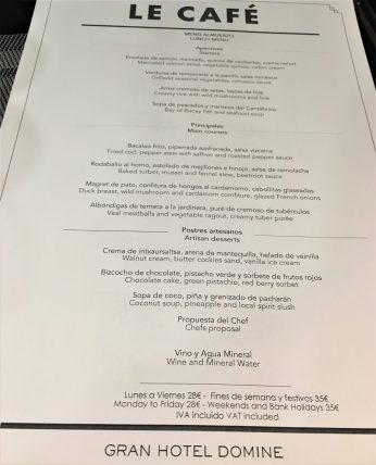 Menú del Restaurante Le Café de Bilbao