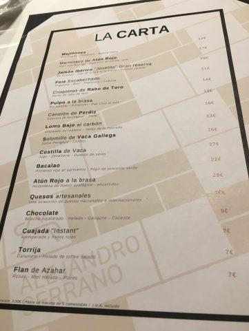Carta del Restaurante Alejandro Serrano