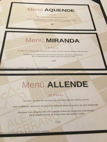 Menús del Restaurante Alejandro Serrano