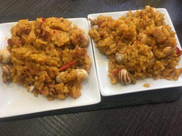 Tapa de arroz con caracoles