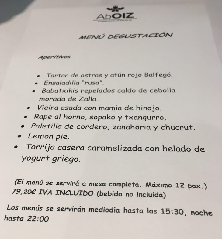 Menú Degustación del Restaurante AbOIZ en Garai