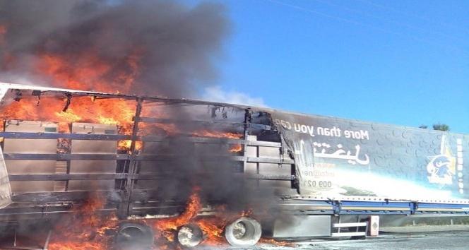Mobilya yüklü tır alev alev yandı