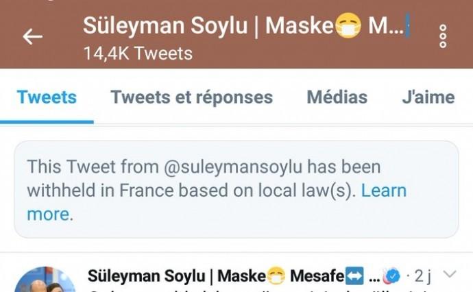 Twitter Soylu'nun tweetini engelledi