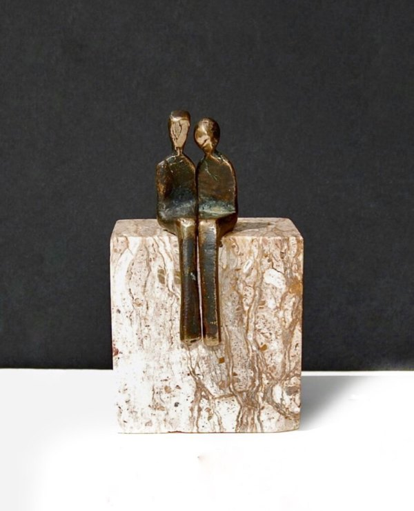 """""""by your side"""" bronze sculpture"""