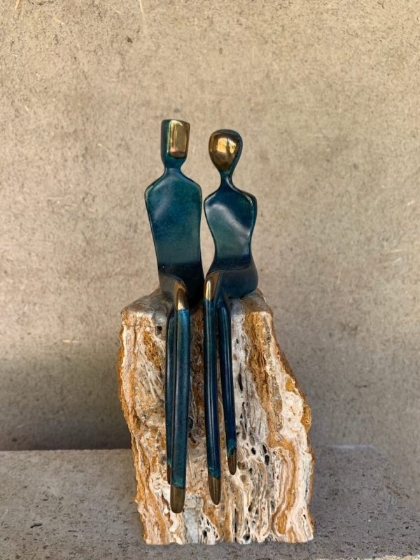 Elegant couple a cast bronze sculpture