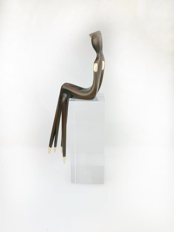 """side view The Two of Us 10"""" Bronze sculpture couple"""