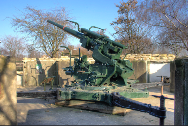 An Ack Ack gun defending the East London docks from the Luftwaffe